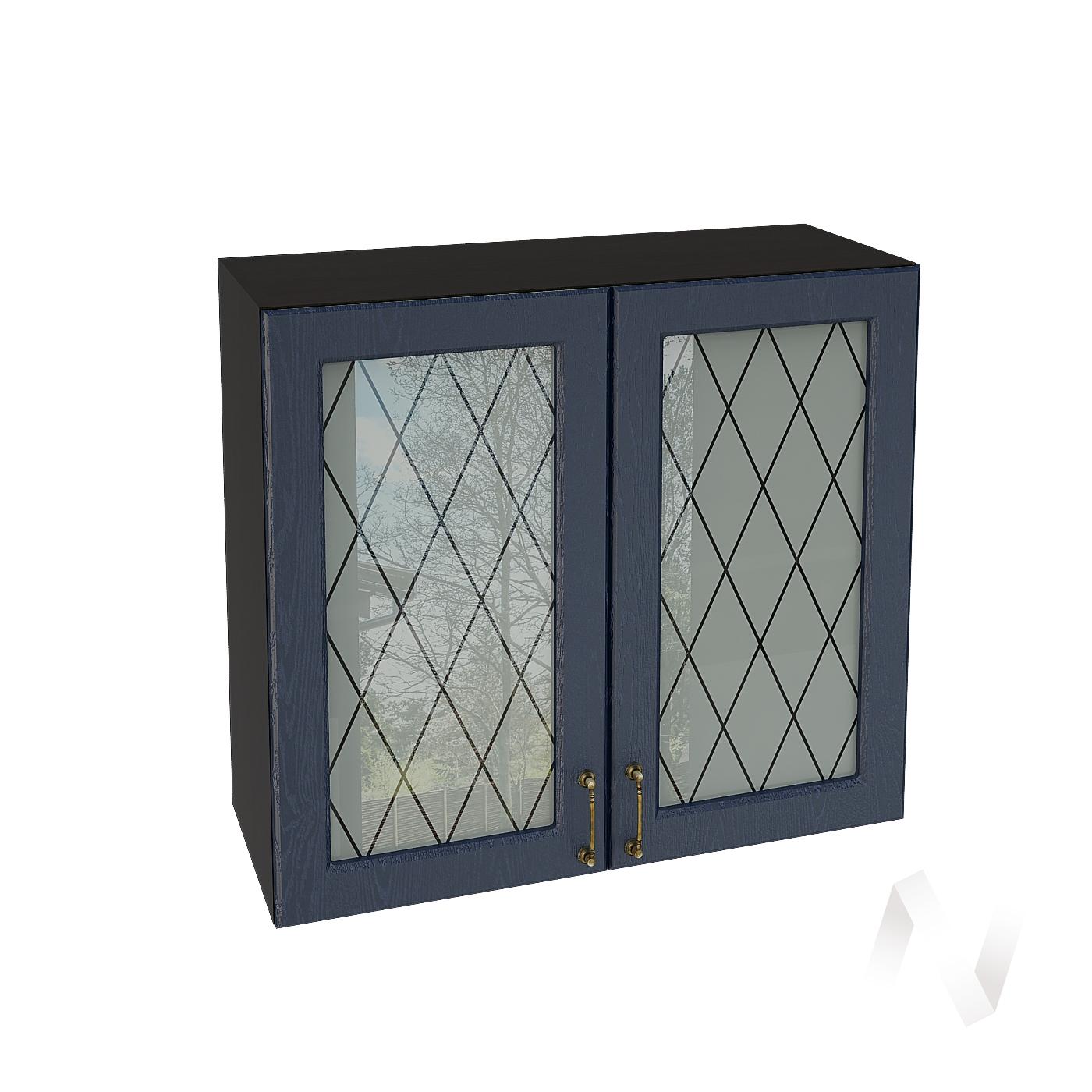 """Кухня """"Ницца"""": Шкаф верхний со стеклом 800, ШВС 800 новый (Дуб чернильный/корпус венге)"""