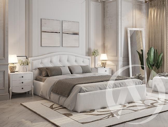 """Кровать мягкая 1,6 """"Верона"""" (Белый)"""