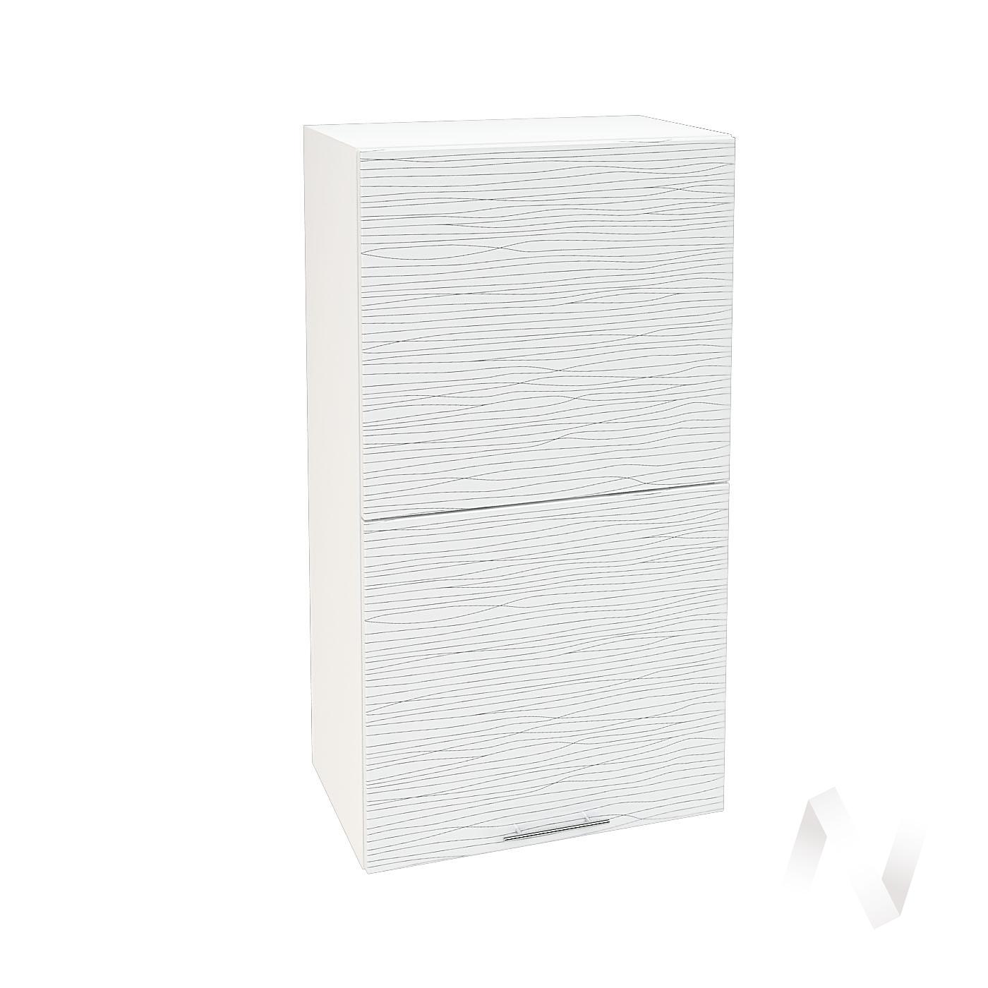 """Кухня """"Валерия-М"""": Шкаф верхний горизонтальный 502, ШВГ 502 (Страйп белый/корпус белый)"""