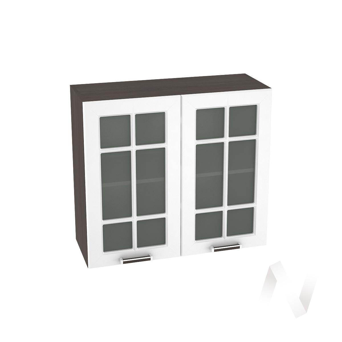 """Кухня """"Прага"""": Шкаф верхний со стеклом 800, ШВС 800 новый (белое дерево/корпус венге)"""