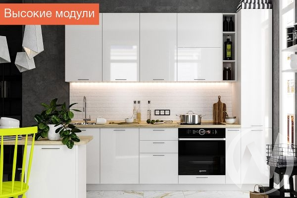 """Кухня """"Валерия-М"""": высокие модули белый глянец/венге (корпус белый)"""