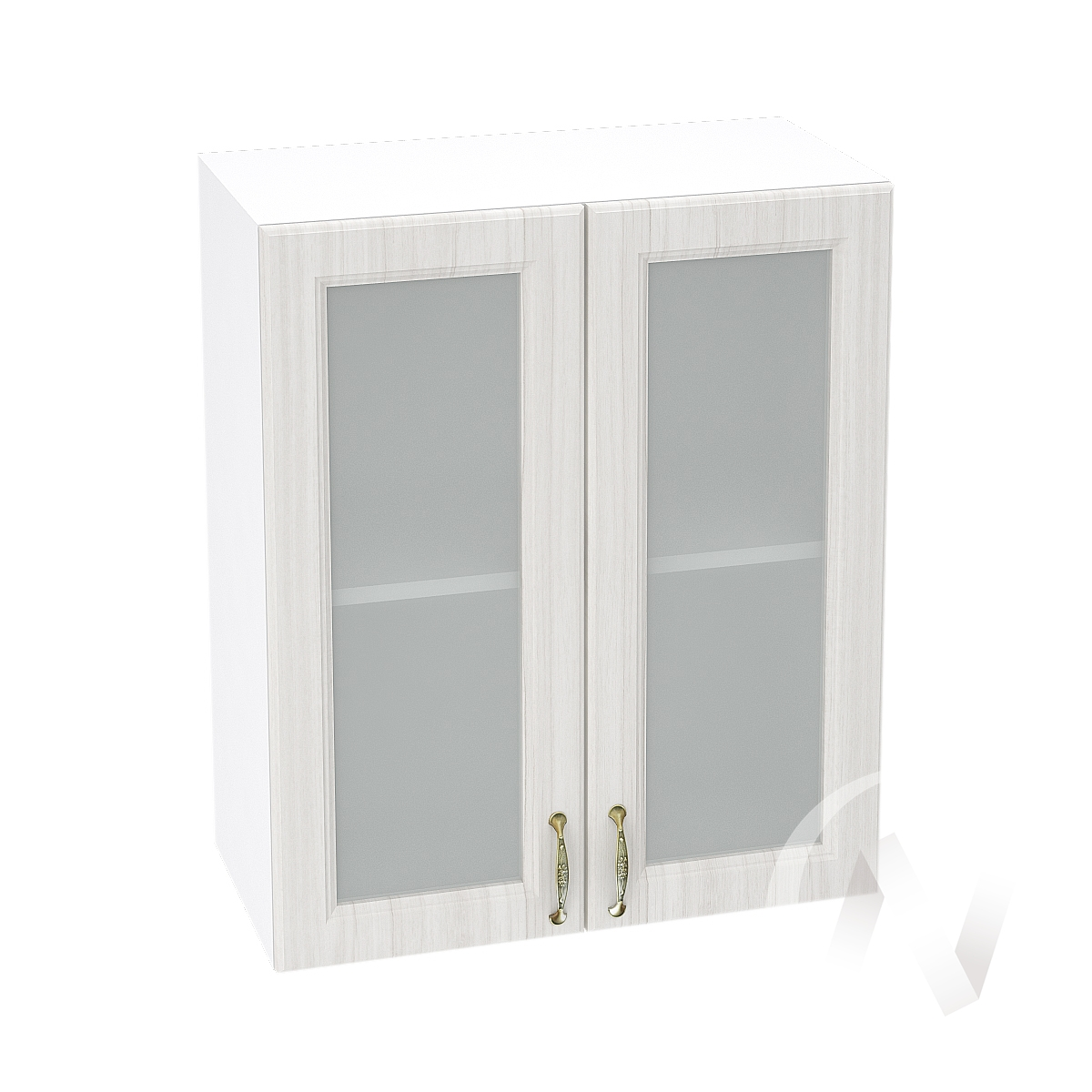 """Кухня """"Виктория"""": Шкаф верхний со стеклом 600, ШВС 600 новый (корпус белый)"""