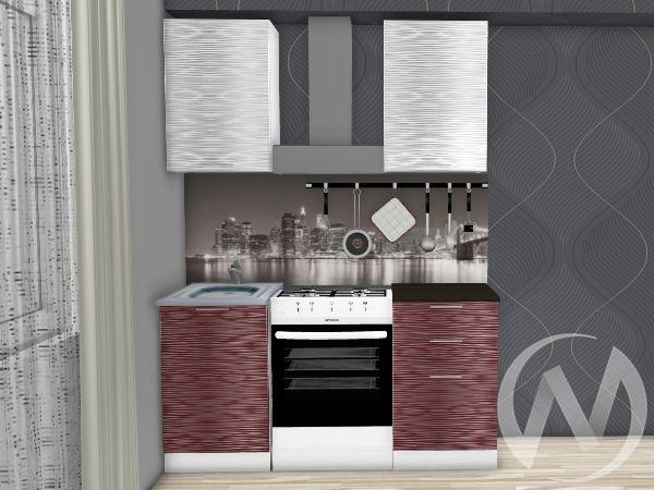 """Кухня """"Валерия-М"""": Страйп белый/Страйп красный 1.0м (корпус белый)"""