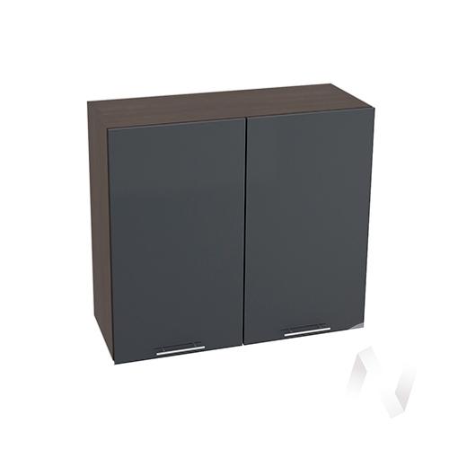 """Кухня """"Валерия-М"""": Шкаф верхний 800, ШВ 800 новый (Антрацит глянец/корпус венге)"""