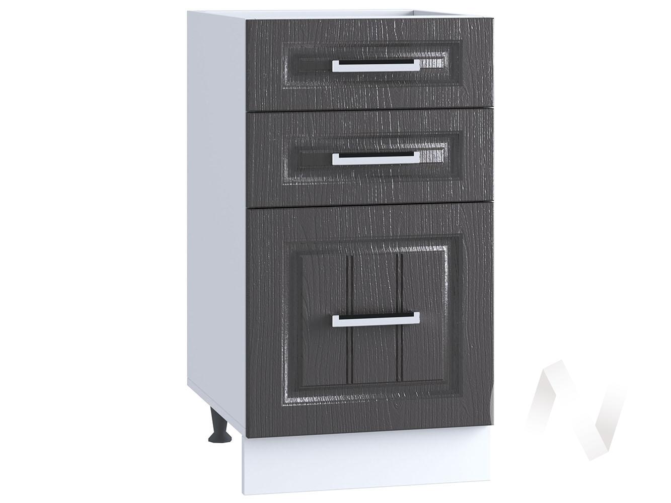 "Кухня ""Луксор"": Шкаф нижний с 3-мя ящиками 400, ШН3Я 400 (Клен серый/корпус белый)"