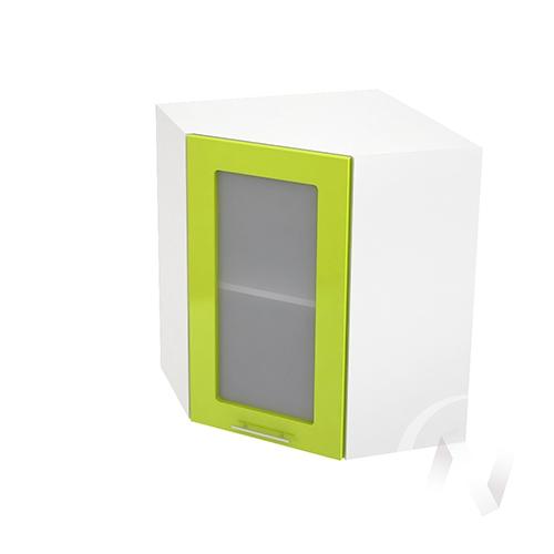 """Кухня """"Валерия-М"""": Шкаф верхний угловой со стеклом 590, ШВУС 590 (лайм глянец/корпус белый)"""