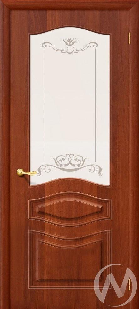 Дверь ПВХ Тип Леона, 60, ост, итальянский орех, стекло матовое с худ. печатью  в Новосибирске - интернет магазин Мебельный Проспект