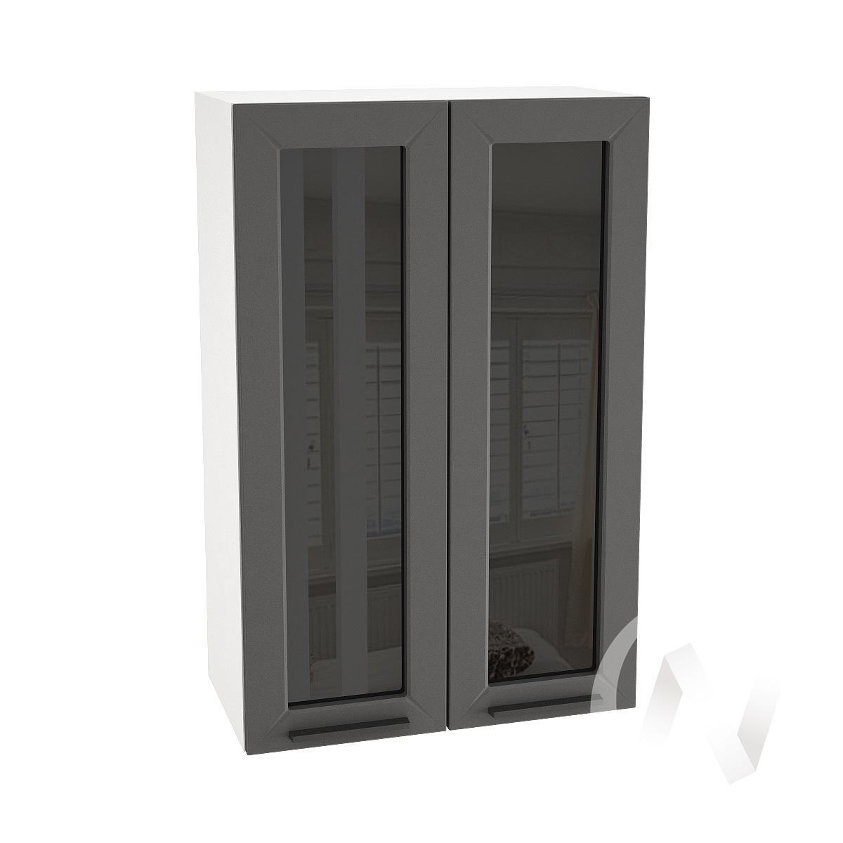 """Кухня """"Глетчер"""": Шкаф верхний со стеклом 609, ШВС 609 новый (Маренго силк/корпус белый)"""