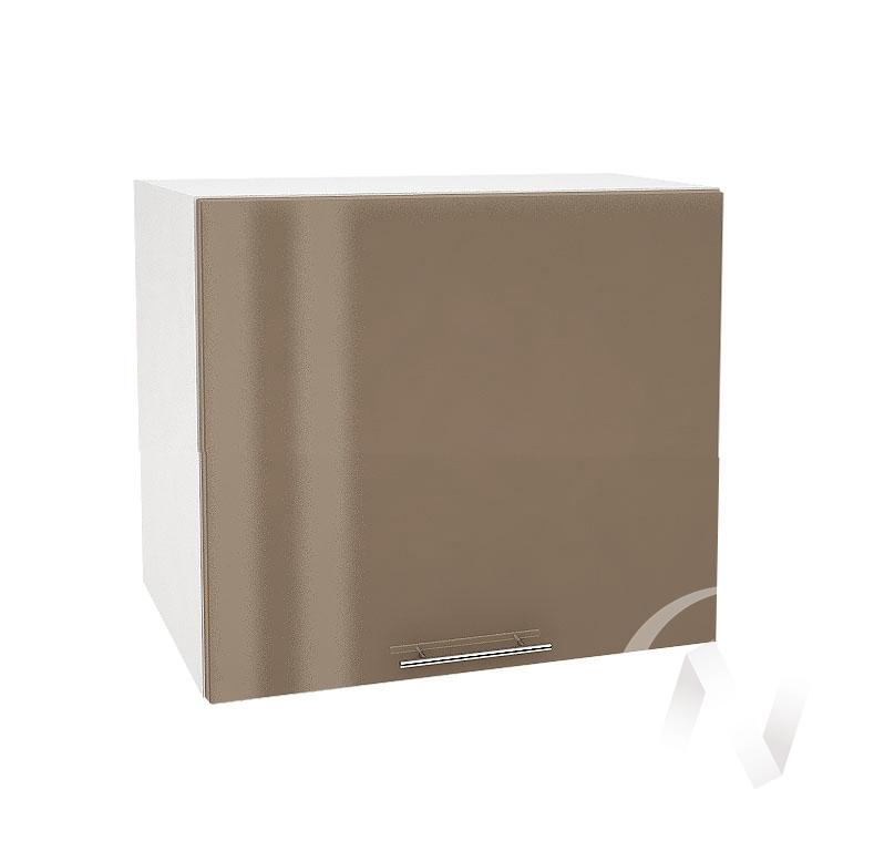 """Кухня """"Валерия-М"""": Шкаф верхний горизонтальный 509, ШВГ 509 (Капучино глянец/корпус белый)"""
