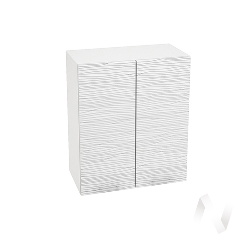 """Кухня """"Валерия-М"""": Шкаф верхний 600, ШВ 600 новый (Страйп белый/корпус белый)"""