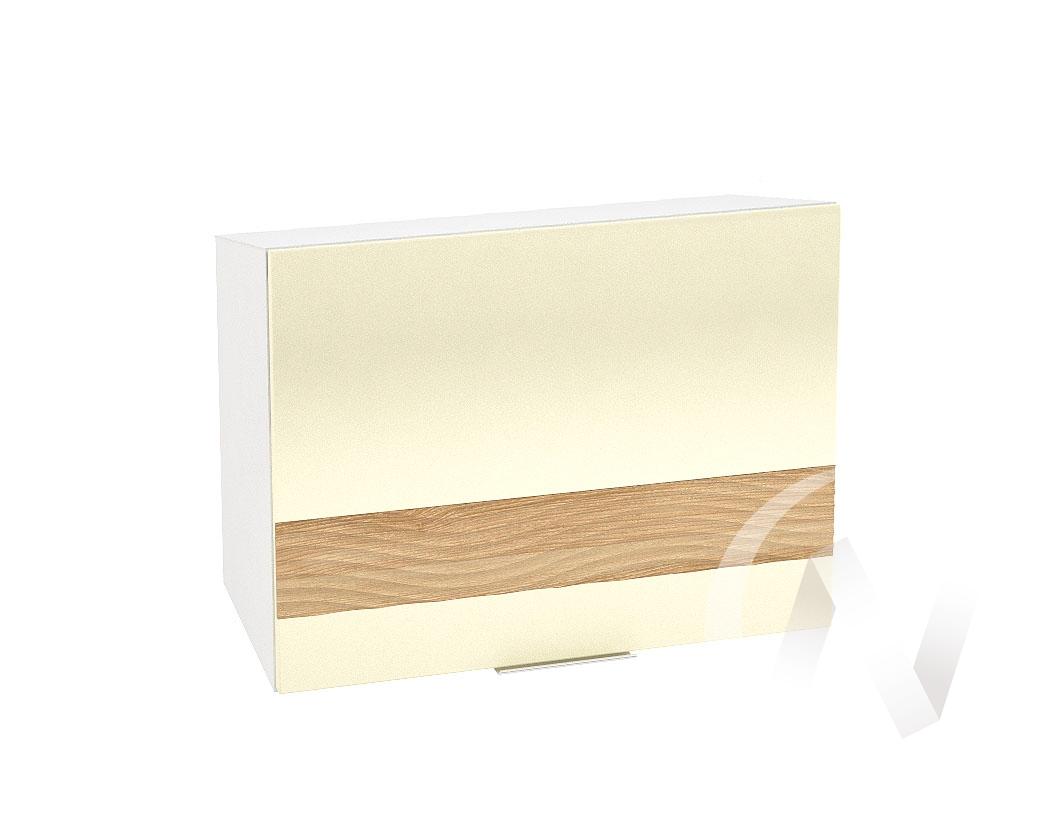 """Кухня """"Терра"""": Шкаф верхний горизонтальный 609, ШВГ 609 (ваниль софт/ель карпатская/корпус белый)"""