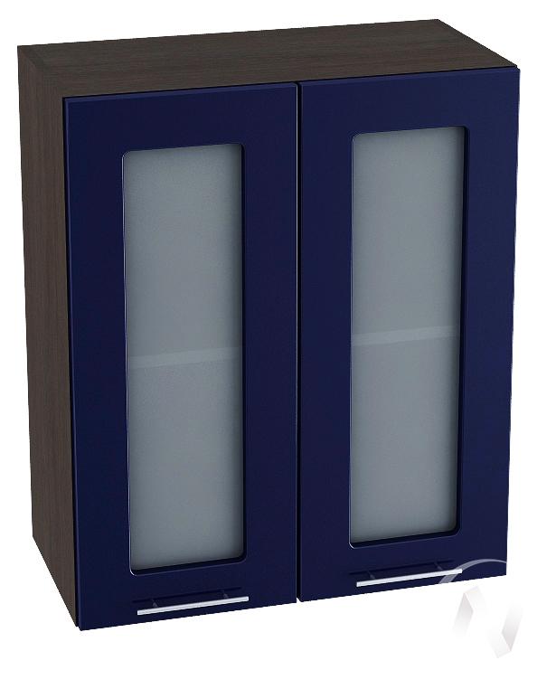 """Кухня """"Валерия-М"""": Шкаф верхний со стеклом 600, ШВС 600 новый (Синий глянец/корпус венге)"""