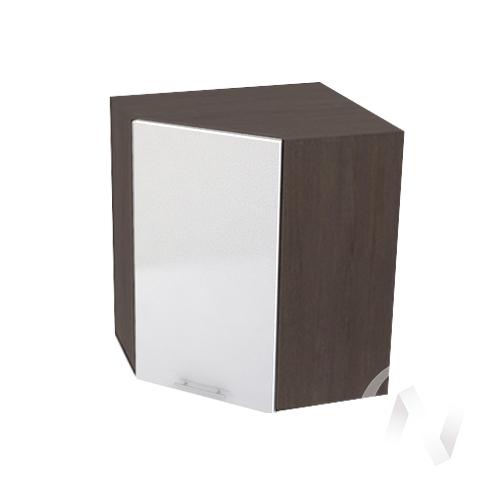 """Кухня """"Валерия-М"""": Шкаф верхний угловой 590, ШВУ 590 (белый металлик/корпус венге)"""