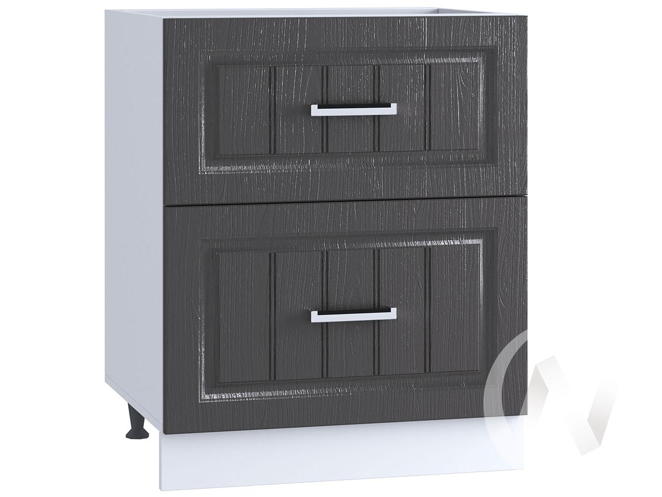 "Кухня ""Луксор"": Шкаф нижний с ящиками 600, ШН2Я 600 (Клен серый/корпус белый)"