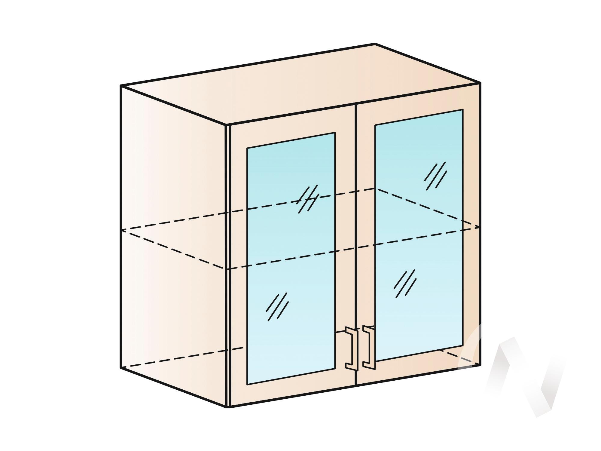 """Кухня """"Валерия-М"""": Шкаф верхний со стеклом 800, ШВС 800 новый (белый металлик/корпус венге)"""