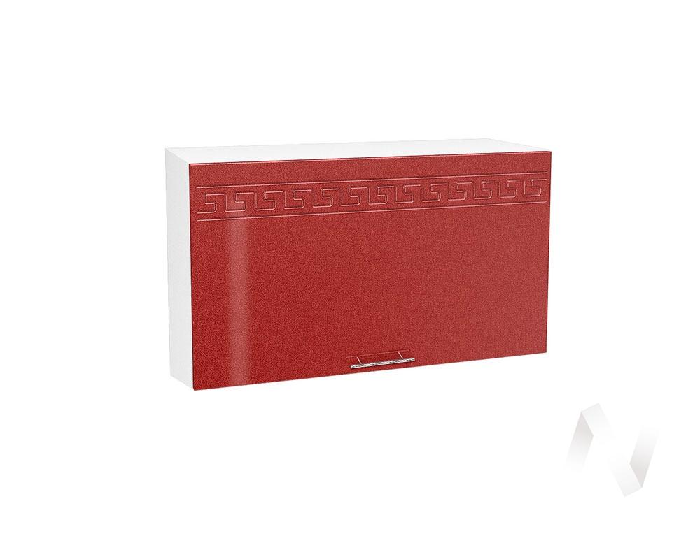 """Кухня """"Греция"""": Шкаф верхний горизонтальный 809, ШВГ 809 (гранатовый металлик/корпус белый)"""
