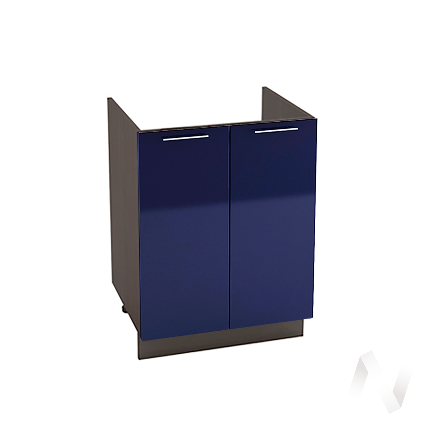 "Кухня ""Валерия-М"": Шкаф нижний под мойку 600, ШНМ 600 новый (Синий глянец/корпус венге)"