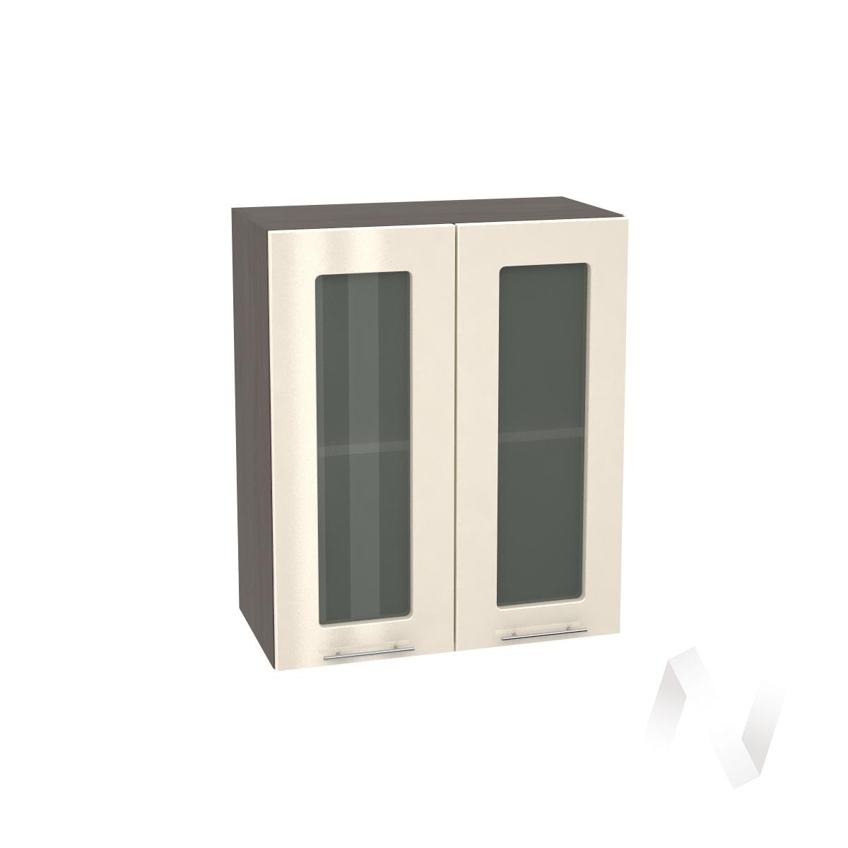 """Кухня """"Валерия-М"""": Шкаф верхний со стеклом 600, ШВС 600 новый (Ваниль глянец/корпус венге)"""