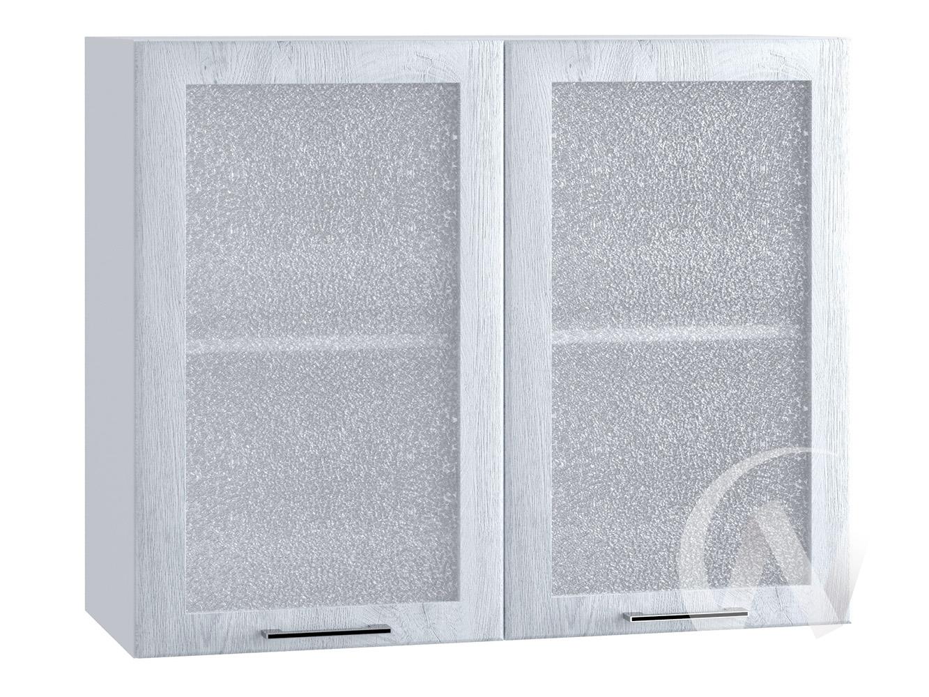 "Кухня ""Палермо"": Шкаф верхний со стеклом 800, ШВС 800 (Дуб остин серый/корпус белый)"