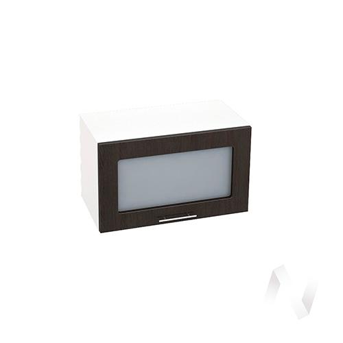 """Кухня """"Валерия-М"""": Шкаф верхний горизонтальный со стеклом 600, ШВГС 600 (венге/корпус белый)"""
