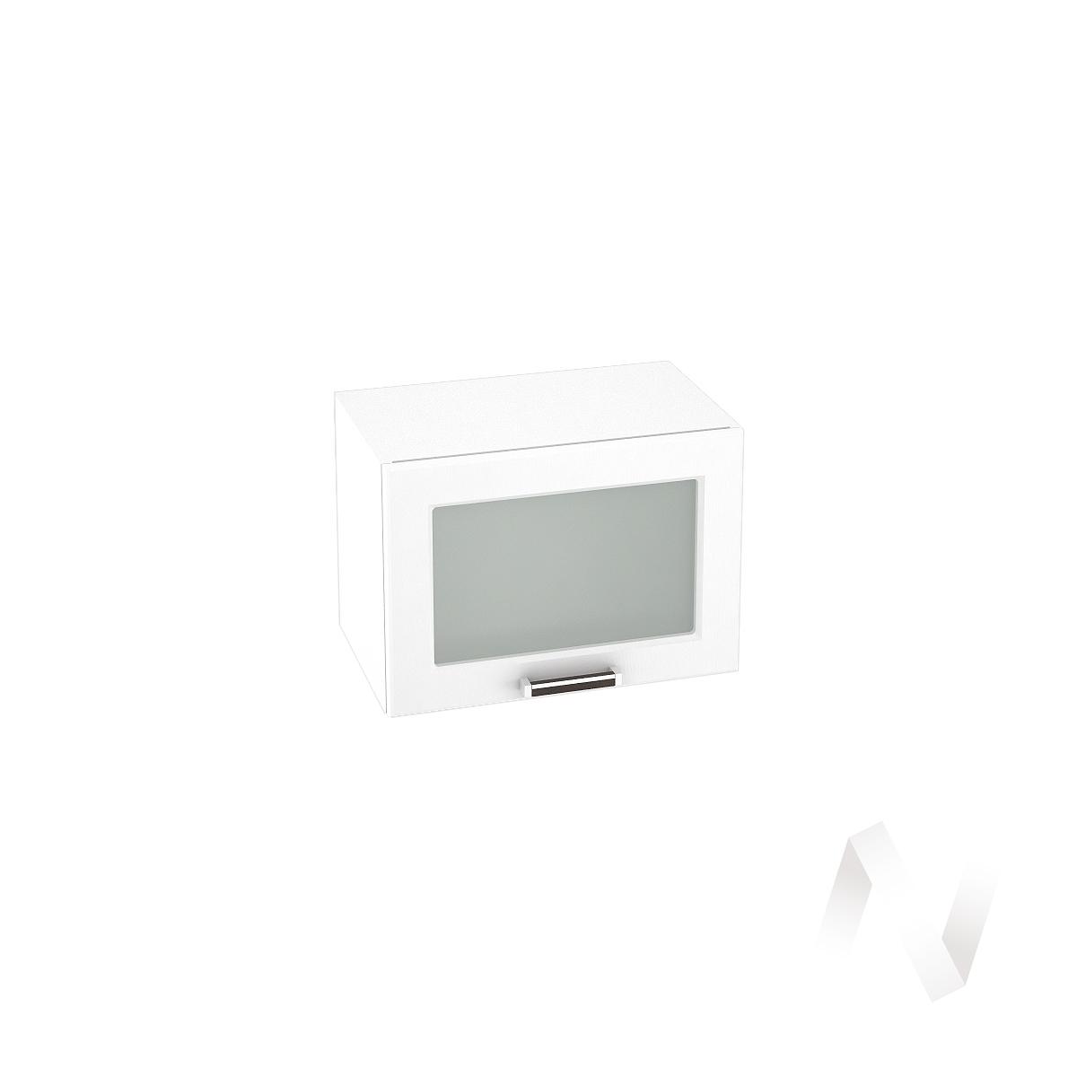 """Кухня """"Прага"""": Шкаф верхний горизонтальный со стеклом 500, ШВГС 500 (белое дерево/корпус белый)"""