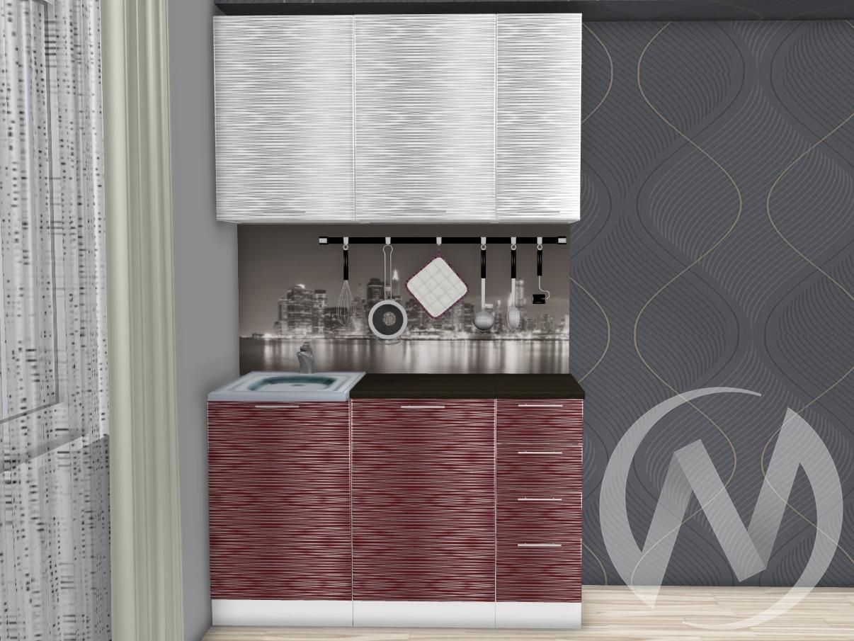 """Кухня """"Валерия-М"""": Страйп белый/Страйп красный 1.3м (корпус белый)"""
