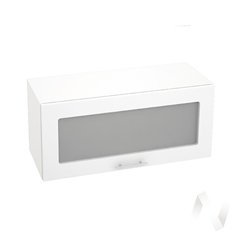 """Кухня """"Валерия-М"""": Шкаф верхний горизонтальный со стеклом 800, ШВГС 800 (белый глянец/корпус белый)"""