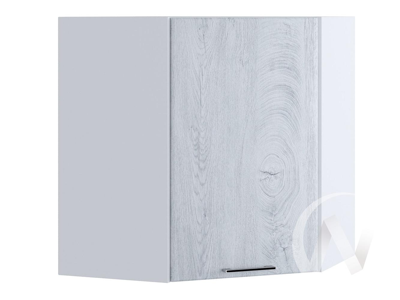 "Кухня ""Палермо"": Шкаф верхний угловой 590, ШВУ 590 (Дуб остин серый/корпус белый)"