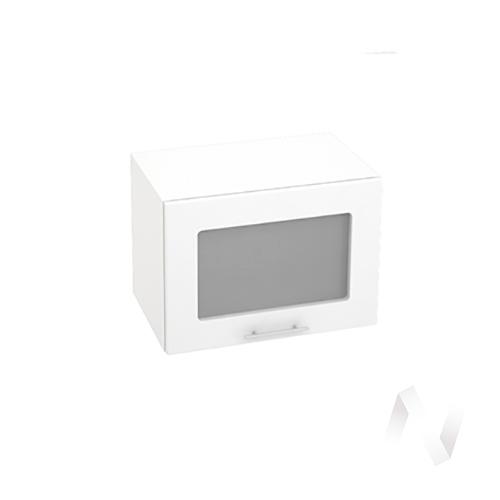 """Кухня """"Валерия-М"""": Шкаф верхний горизонтальный со стеклом 500, ШВГС 500 (белый глянец/корпус белый)"""