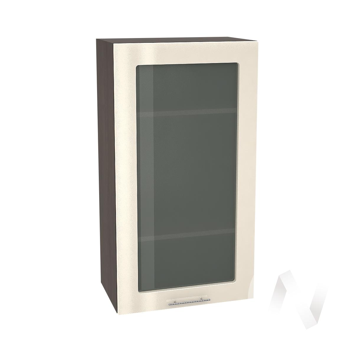 """Кухня """"Валерия-М"""": Шкаф верхний со стеклом 509, ШВС 509 (Ваниль глянец/корпус венге)"""