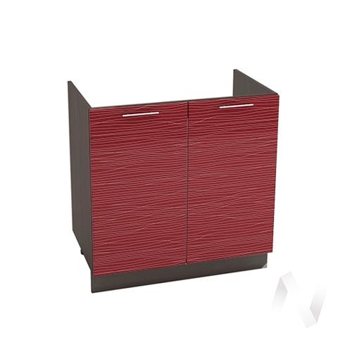 """Кухня """"Валерия-М"""": Шкаф нижний под мойку 800, ШНМ 800 новый (Страйп красный/корпус венге)"""