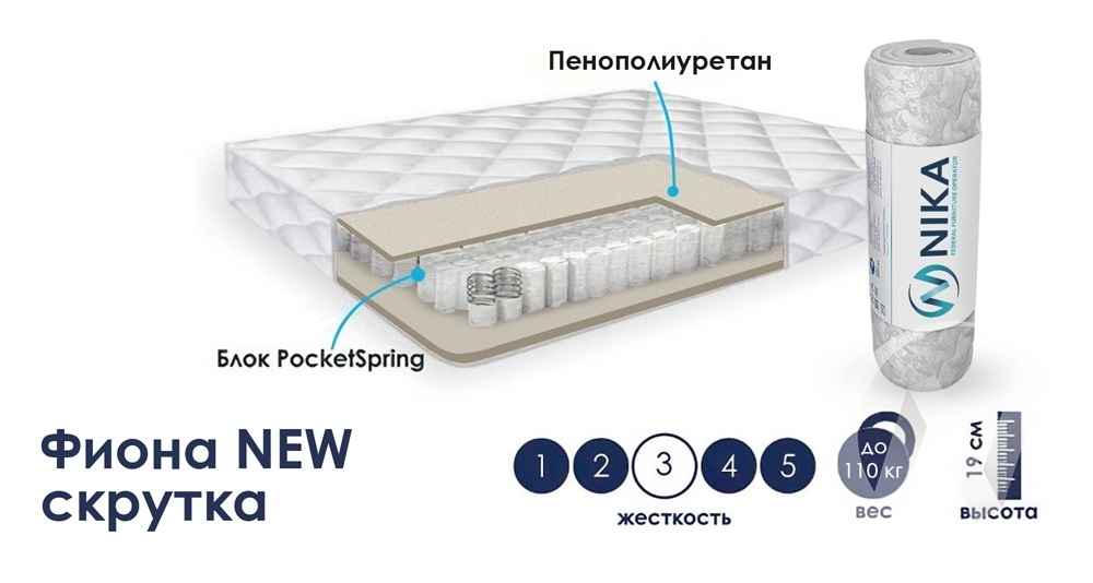 Матрас Фиона NEW (1200х1900) скрутка  в Томске — интернет магазин МИРА-мебель