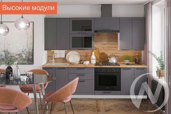 """Кухня """"Глетчер"""": высокие модули (Маренго силк/корпус белый)"""