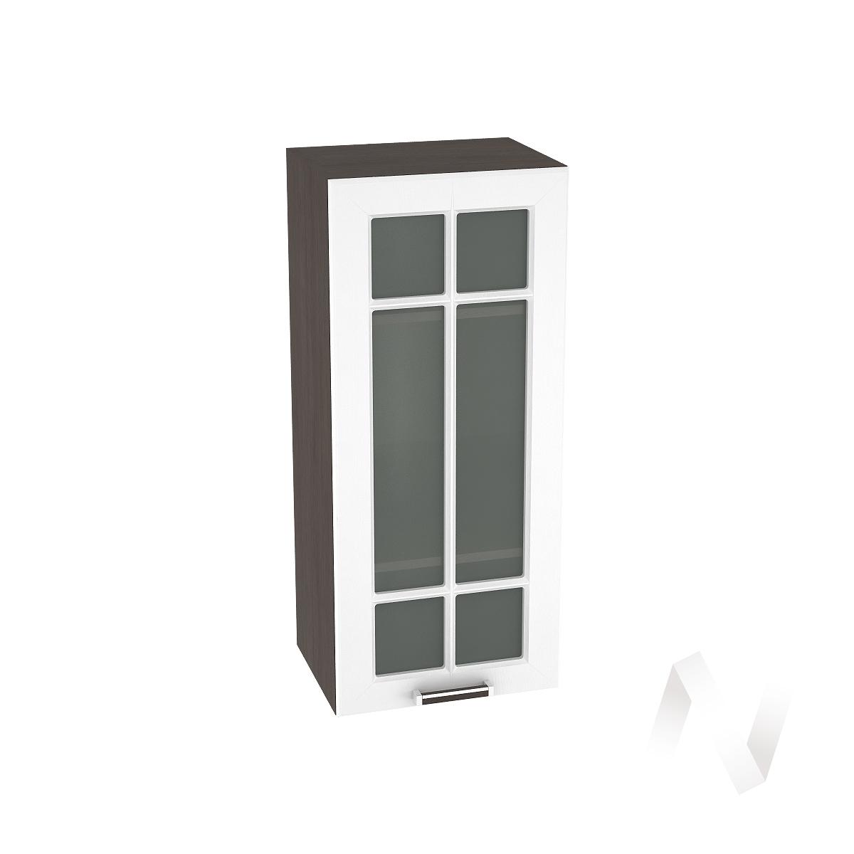 """Кухня """"Прага"""": Шкаф верхний со стеклом 409, ШВС 409 (белое дерево/корпус венге)"""