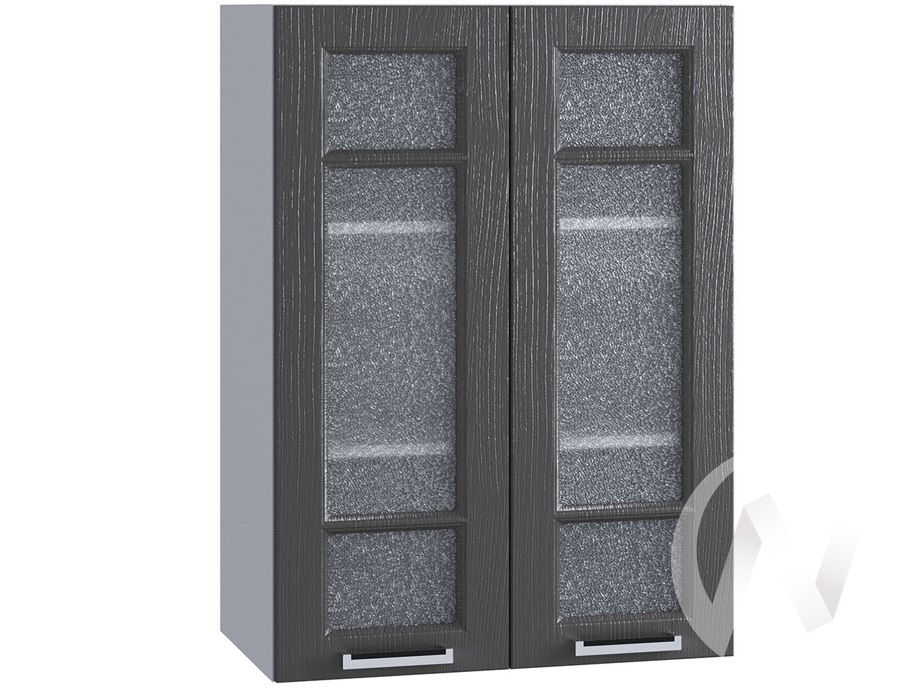 "Кухня ""Луксор"": Шкаф верхний со стеклом 609, ШВС 609 новый (Клен серый/корпус белый)"