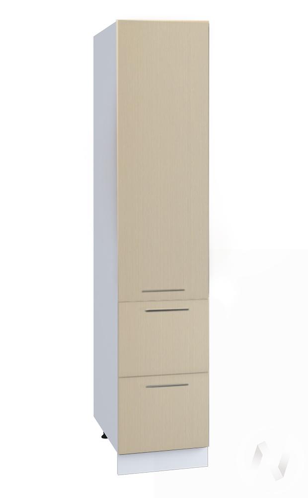 """Кухня """"Люкс"""": Шкаф пенал с 2-мя ящиками 400, ШП2Я 400 (Шелк жемчуг/корпус белый)"""