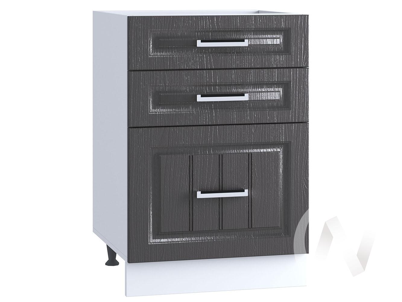 "Кухня ""Луксор"": Шкаф нижний с 3-мя ящиками 500, ШН3Я 500 (Клен серый/корпус белый)"