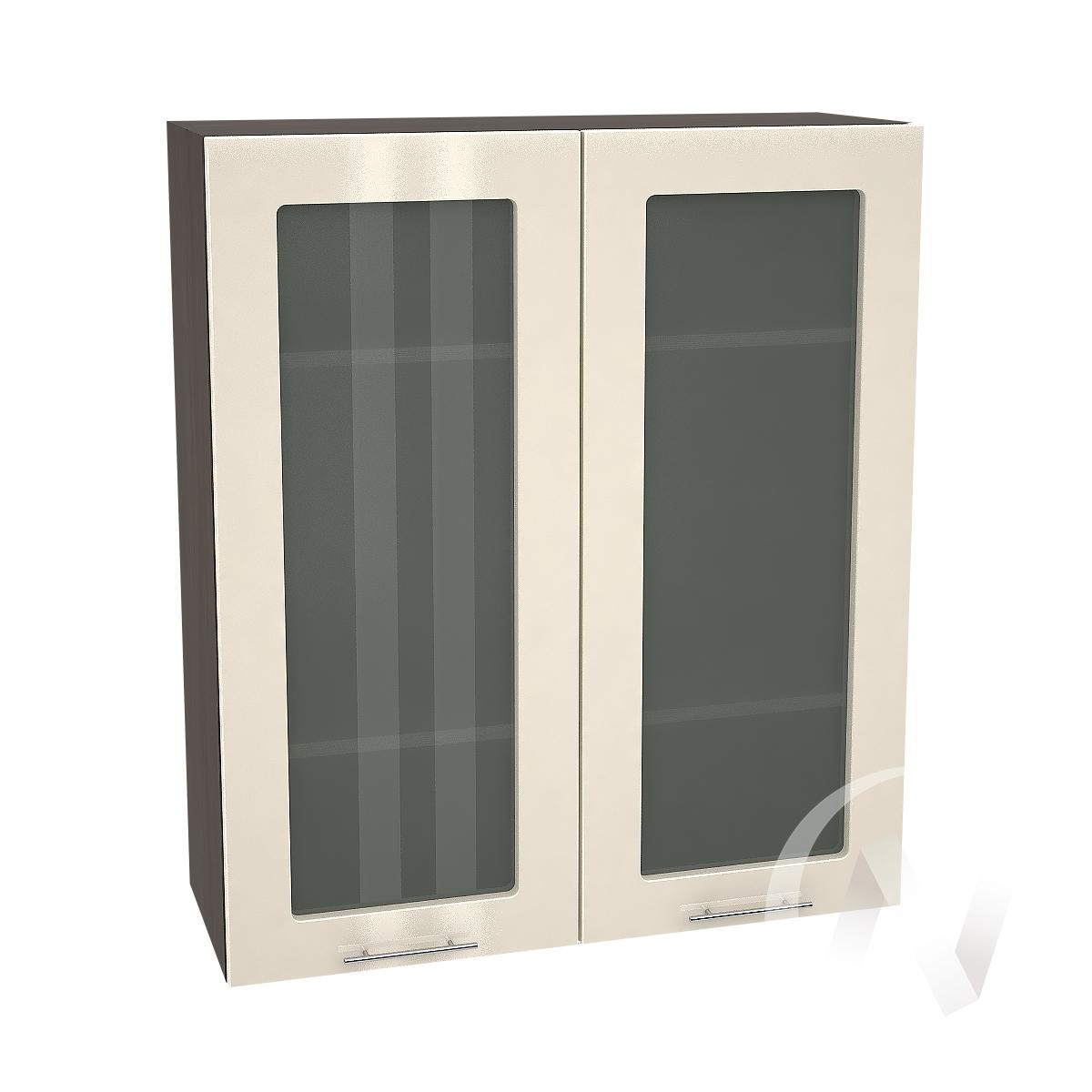 """Кухня """"Валерия-М"""": Шкаф верхний со стеклом 809, ШВС 809 новый (Ваниль глянец/корпус венге)"""