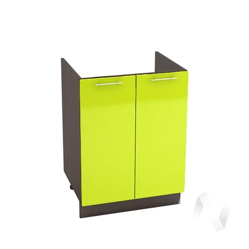 """Кухня """"Валерия-М"""": Шкаф нижний под мойку 600, ШНМ 600 новый (лайм глянец/корпус венге)"""
