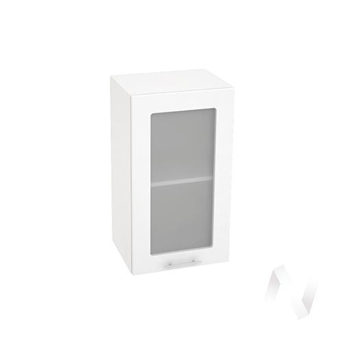 """Кухня """"Валерия-М"""": Шкаф верхний со стеклом 400, ШВС 400 (белый глянец/корпус белый)"""