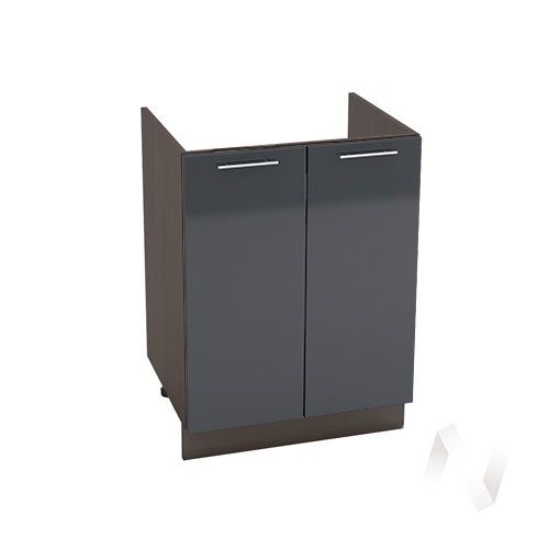 """Кухня """"Валерия-М"""": Шкаф нижний под мойку 600, ШНМ 600 новый (Антрацит глянец/корпус венге)"""