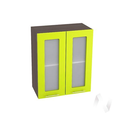 """Кухня """"Валерия-М"""": Шкаф верхний со стеклом 600, ШВС 600 новый (лайм глянец/корпус венге)"""