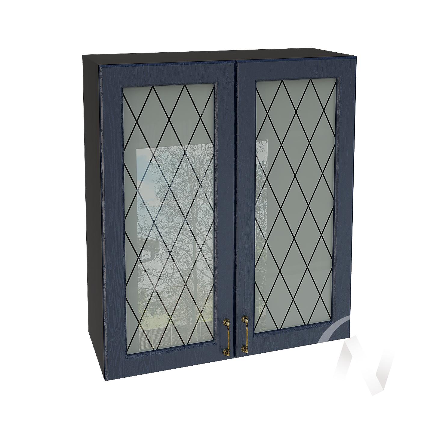 """Кухня """"Ницца"""": Шкаф верхний со стеклом 809, ШВС 809 (Дуб чернильный/корпус венге)"""