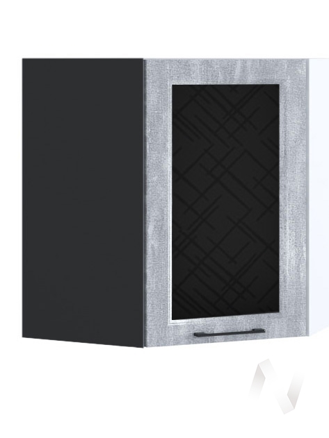 """Кухня """"Либерти"""": Шкаф верхний угловой со стеклом 590, ШВУС 590 (Холст натуральный/корпус венге)"""