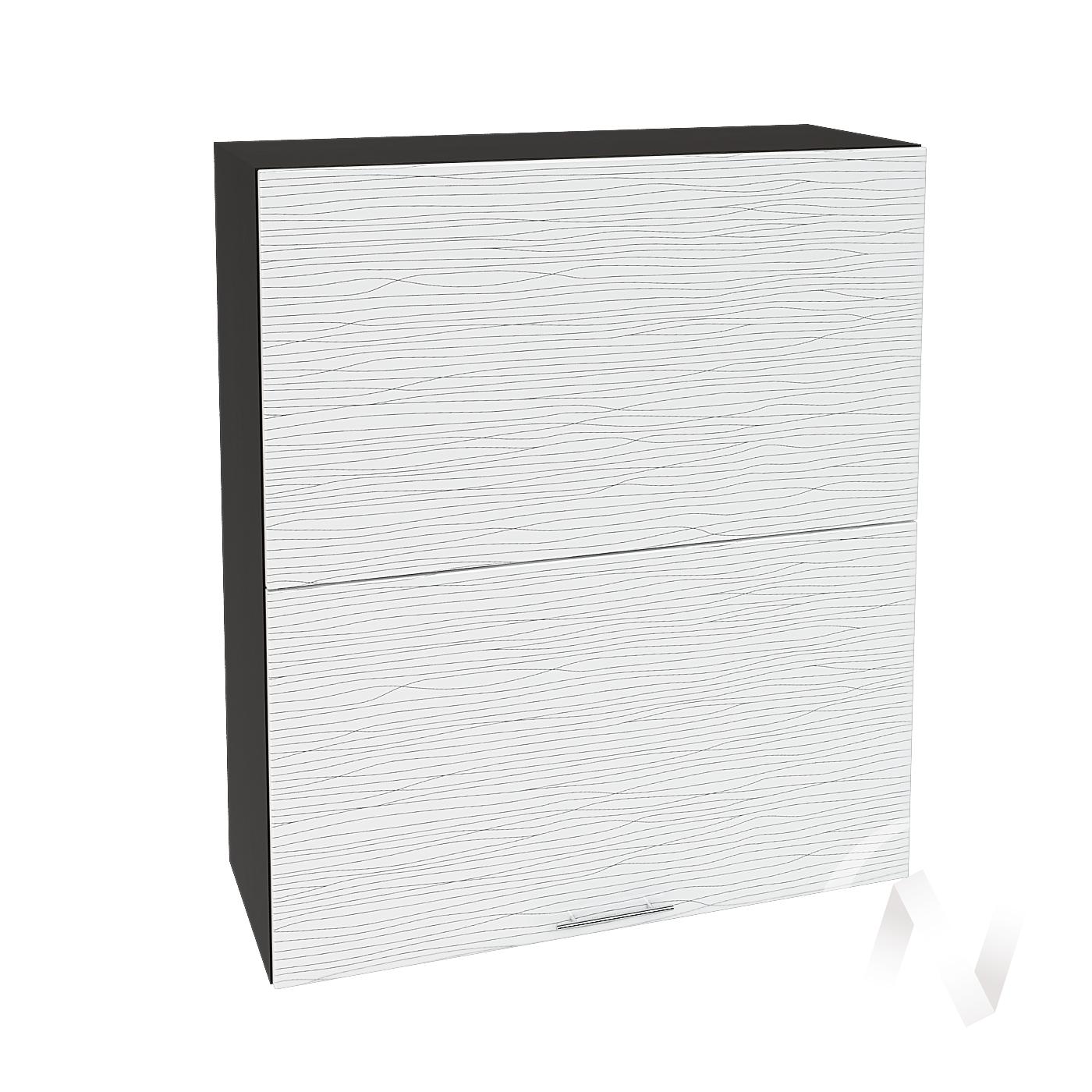 """Кухня """"Валерия-М"""": Шкаф верхний горизонтальный 802, ШВГ 802 (Страйп белый/корпус венге)"""
