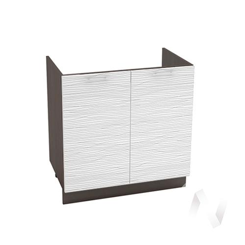 "Кухня ""Валерия-М"": Шкаф нижний под мойку 800, ШНМ 800 (Страйп белый/корпус венге)"