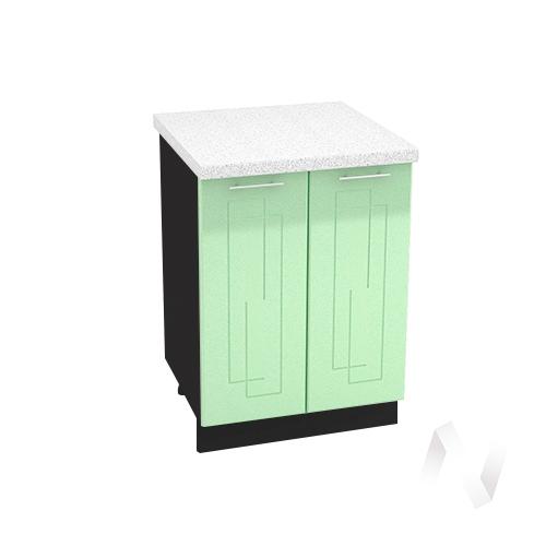 """Кухня """"Вега"""": Шкаф нижний 600, ШН 600 новый (салатовый металлик/корпус венге)"""