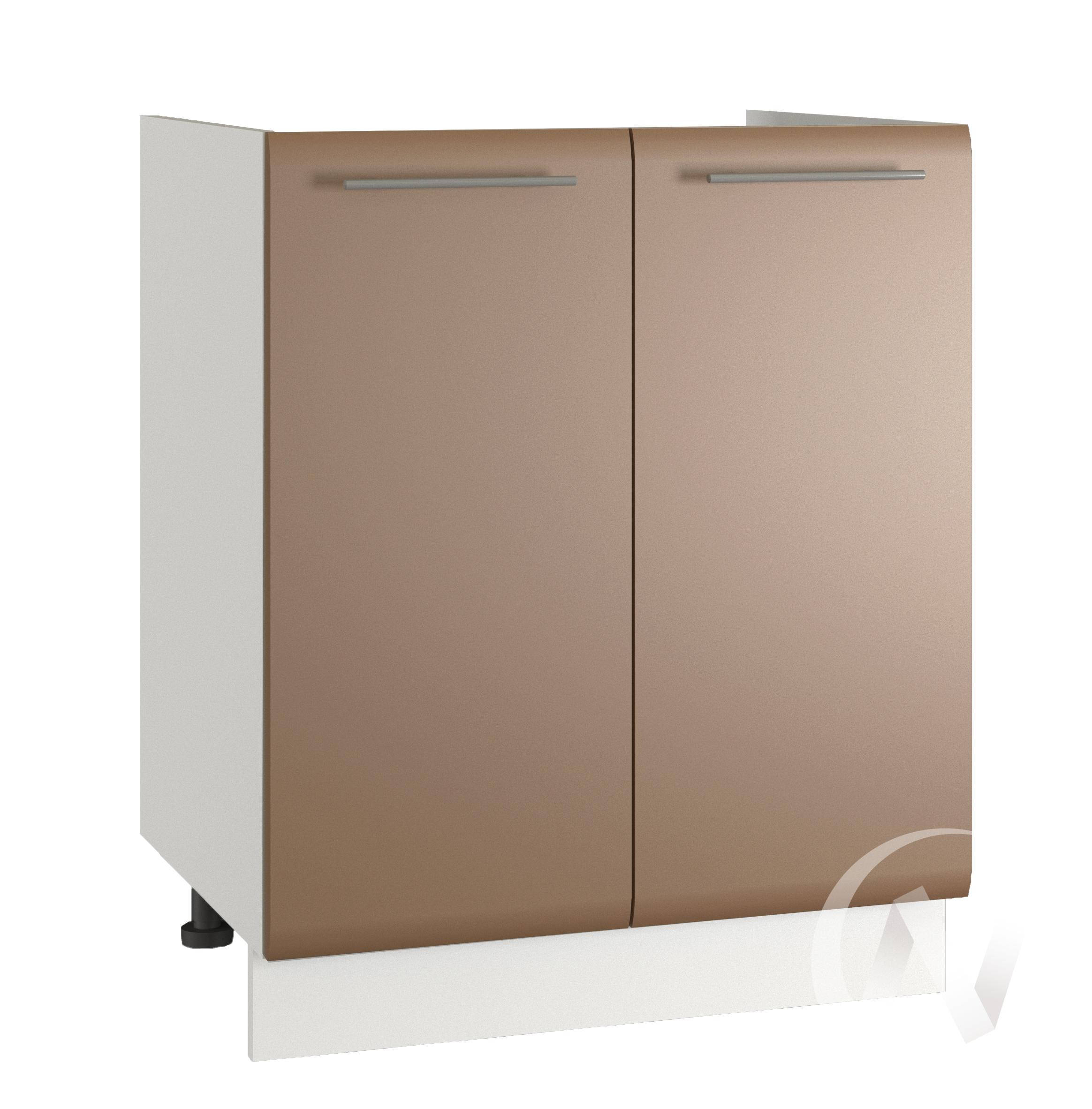 """Кухня """"Люкс"""": Шкаф нижний под мойку 600, ШНМ 600 новый (Шоколад матовый/корпус белый)"""