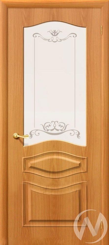 Дверь ПВХ Тип Леона, 60, ост, миланский орех, стекло матовое с худ. печатью  в Новосибирске - интернет магазин Мебельный Проспект