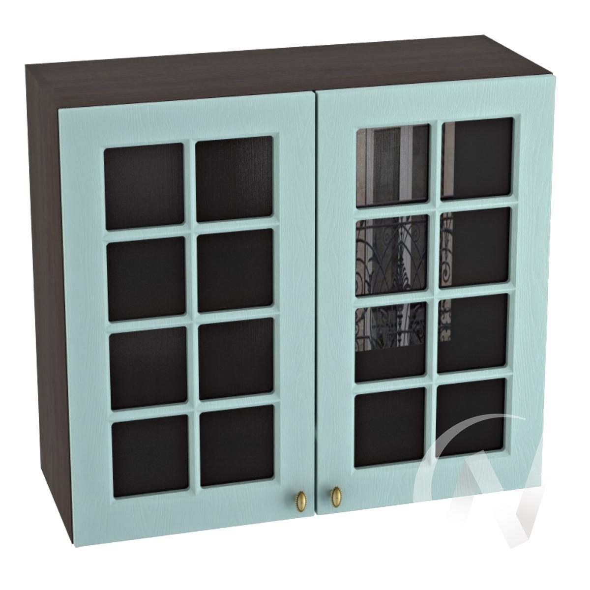 """Кухня """"Прованс"""": Шкаф верхний со стеклом 800, ШВС 800 новый (голубой/корпус венге)"""